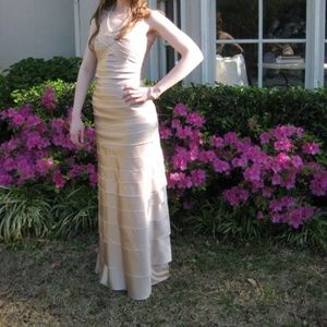 BCBG Satan Tiered Full Length Champagne Prom Gown